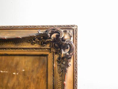 Dipinto firmato, olio su tela in ricca cornice ottocentesca. Crisantemi. Italia, Fine Ottocento Primo Novecento