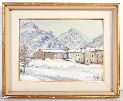 Dipinto firmato Pino ROASIO Paese innevato. Olio su cartone. Italia, 1953