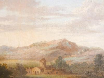 Dipinto a olio di scuola veneta settecentesca, Paesaggio, scena pastorale. Cornice coeva dorata in foglia oro. Italia, Settecento