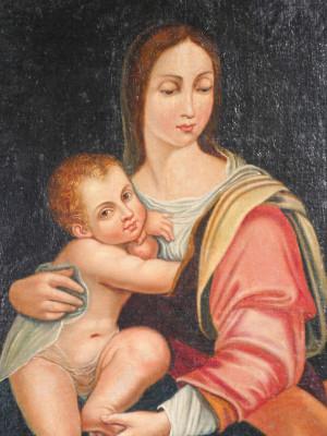 Quadro in olio su tela Madonna del Latte Virgo Lactans in cornice dorata. Italia, Fine Settecento Primo Ottocento