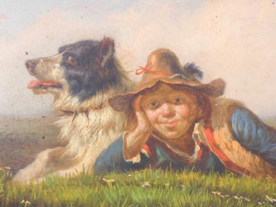 Dipinto ovale a olio: Pastorello con il suo cane, in cornice guilloché. Italia, Fine Ottocento, Primo Novecento