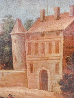 Dipinto a olio raffigurante un borgo con figure. Settecento