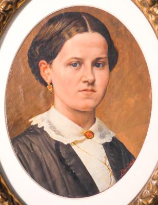 Dipinto a olio firmato BONDIOLI, Ritratto di donna. Area lombarda, Ottocento