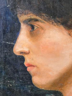 Dipinto a olio, Ritratto di donna. Fine Ottocento, Primo Novecento