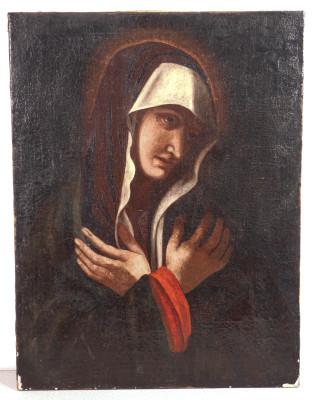 Ritratto di Santa in olio su tela. Italia, Fine Seicento Inizio Settencento