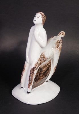 Scultura in ceramica dipinta a mano, Centauro, riferibile alle manifatture di ALBISOLA. Italia, Anni 50 ca