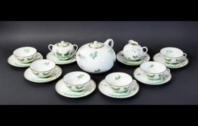 Servizio da tè per sei persone della manifattura Richard GINORI Pittoria di Doccia, Collezione GALLI. Italia, Novecento