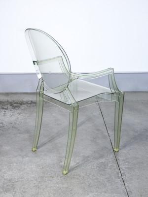 Set di sei sedie Louis Ghost, design Philippe STARK per KARTELL. Policarbonato verde trasparente. Italia