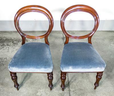 Set di sei sedie vittoriane in legno massello di mogano. Inghilterra, Secondo Ottocento