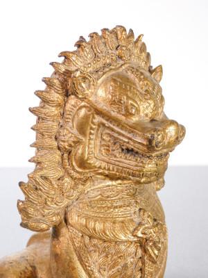 Leone Guardiano, Shi Shi, Cane Foo in bronzo dorato. Estremo Oriente, Fine Ottocento Primo Novecento