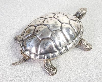 Campanello da tavolo a forma di tartaruga in argento 800, Ilario PRADELLA. Milano Italia, Anni 40