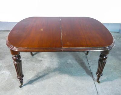 Tavolo allungabile con meccanismo a manovella Joseph FITTER, epoca vittoriana, in legno di mogano. Inghilterra, Secondo Ottocento
