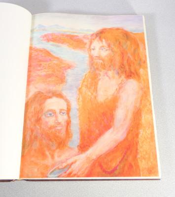 Vangelo di Marco con riproduzione di 15 tavole di Aligi SASSU su carta Fabriano, rilegato in pelle. Numerato 1124 e firmato dall
