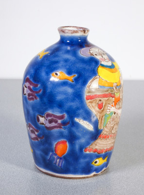 Vaso in ceramica dipinta sotto smalto Ceramiche DE SIMONE dipinto a mano. Sicilia