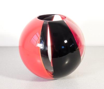 Vaso sferico di design in vetro di Murano firmato dall