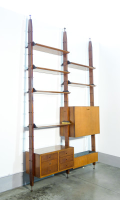 Wall Unit Terra/Cielo, da centro, libreria a giorno modulare, componibile, con mobile illuminato, cassettiera e vano porta fiori. Design italiano, Anni 50